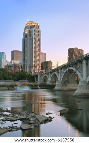 Downtown & Third Avenue Bridge - Minneapolis Minnesota - stock photo