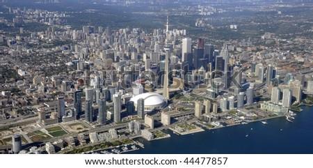 Downtown Toronto aerial panorama - stock photo