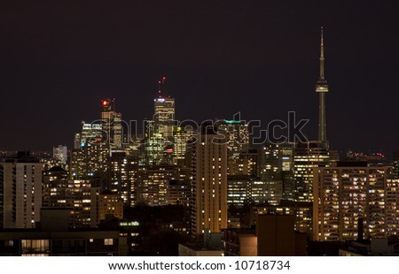 Downtown Toronto, Ontario. Night view looking south on Yonge Street.