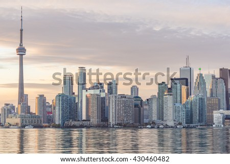 Downtown Toronto skyline with the  the Financial District skyscrapers at sunset. - stock photo