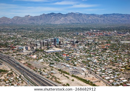 Downtown Tucson viewed from above looking to the northeast from Interstate 10 - stock photo