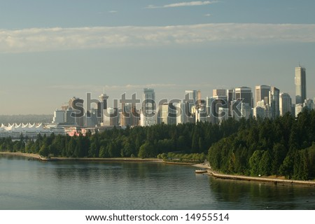Downtown Vancouver and Stanley Park - stock photo