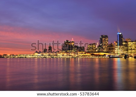 Downtown Vancouver at sunrise in winter morning