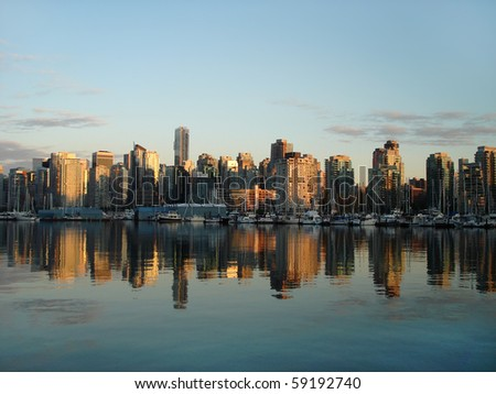 downtown Vancouver at sunset, harbor view