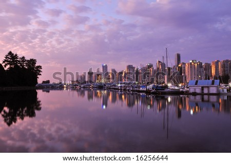 downtown vancouver before sunrise