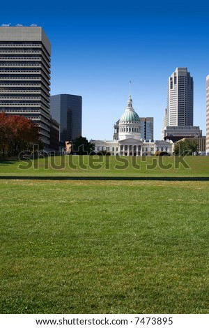 Downtown View from the Arch in St. Louis - stock photo