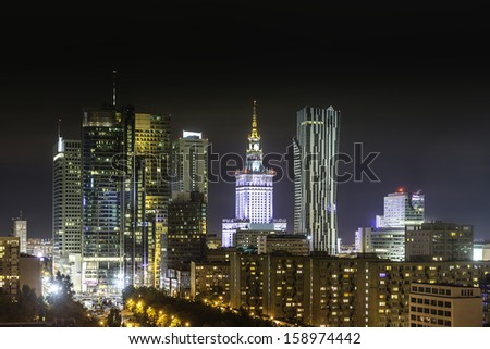 Downtown Warsaw at night, Poland - stock photo