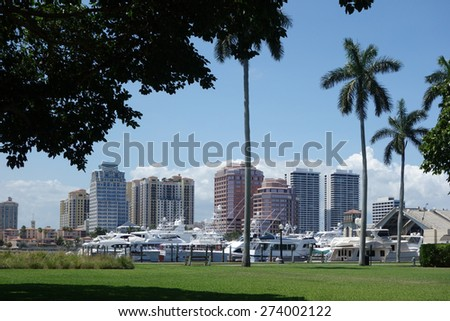 Downtown West Palm Beach, Florida and the Brazilian Docks on Palm Beach - stock photo