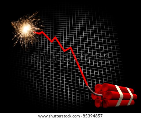 Downward trend leading to dynamite explosion - stock photo