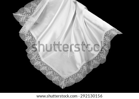 Dowry for a newborn. Christening blanket - stock photo