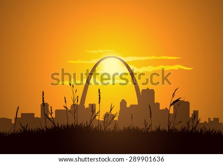 Dowtown St. Louis visible from East St. Louis, during sunset.  - stock photo