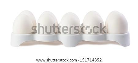 dozen eggs on a white background isolated - stock photo