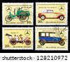DPR KOREA - CIRCA 1986: A set of postage stamps printed in DPR KOREA shows historic cars. 60 th anniversary of mercedes-benz (1926-1986, series, circa 1986 - stock photo