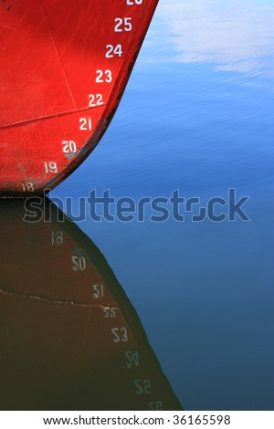 Draft marks on a ocean going vessel