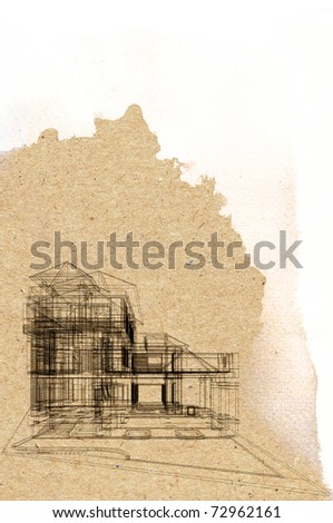 Draft modern building on brown paper. architecture presentation - stock photo