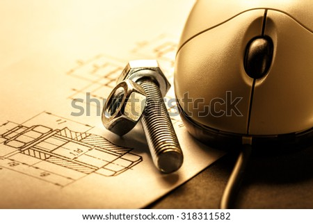 Drafting, mouse and screw bolt with nut - stock photo