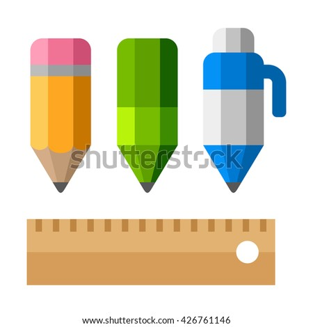 Drafting tools on white background. School Equipment Icons - Pen, Pencils and Ruler. Flat Style Illustration - stock photo