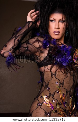 Drag queen wearing lace outfit. - stock photo