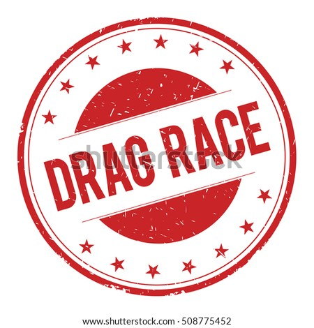 DRAG-RACE stamp sign text word logo red.