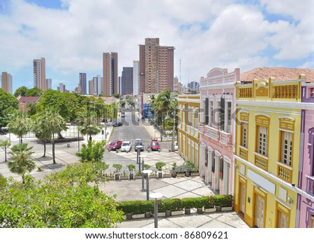 Dragao do Mar houses in Fortaleza - Ceara - Brazil - stock photo