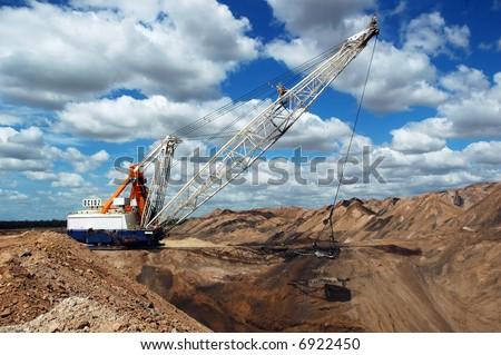 Dragline on the open pit coal mine, Queensland, Australia - stock photo