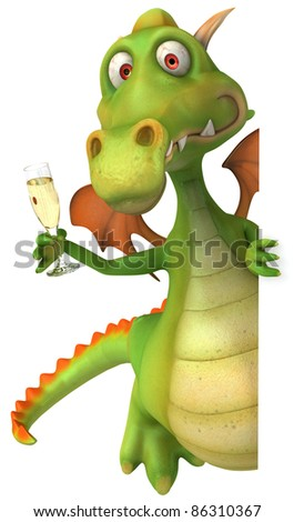 Dragon and champagne - stock photo