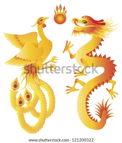 Dragon and Phoenix Symbols for Chinese Wedding  with Flaming Ball Illustration Isolated on White Background Raster - stock photo