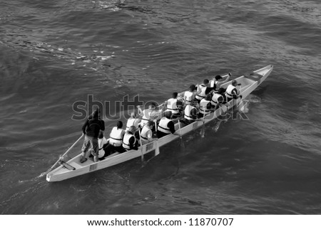 dragon boat workout - stock photo