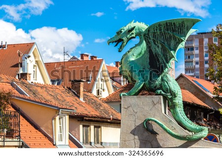 Dragon bridge in a summer day in Ljubljana, Slovenia - stock photo