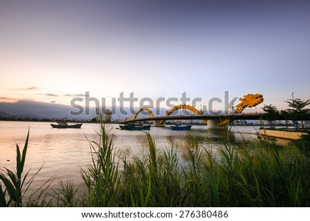 Dragon Bridge in sunset in Da Nang, Vietnam