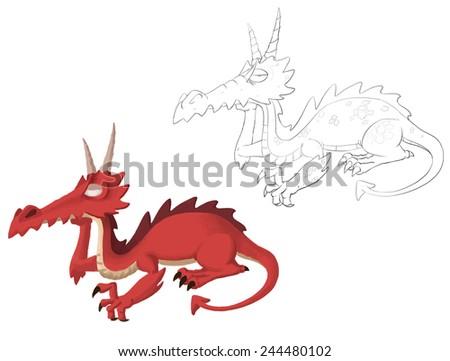 Dragon - Character Design for children - stock photo