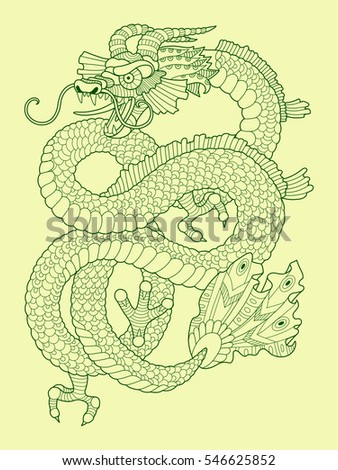 Dragon color drawing raster illustration. Tattoo stencil. Lace pattern