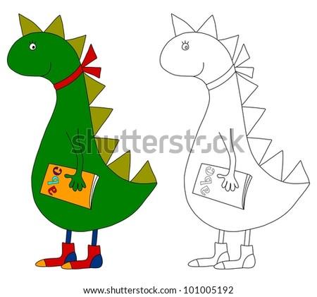 Dragon. Coloring book - stock photo