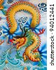 Dragon craft and painting mixed in Chinese temple in Thailand - stock photo