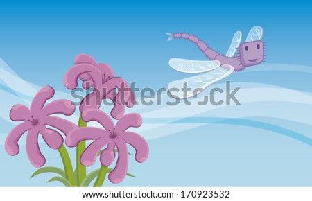 Dragon-fly. A dragonfly flying in the sky. Below, there are three lovely flowers. - stock photo