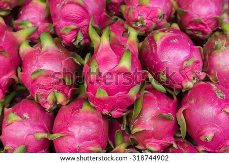 Dragon fruit at street food in Thailand.
