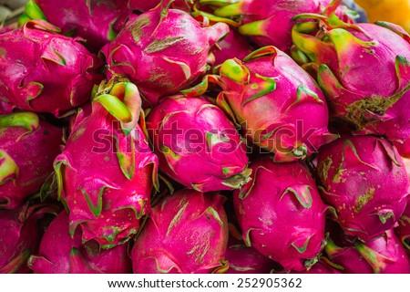 Dragon fruit, Pitaya (geow mangon). Fruits of Vietnam and Thailand - stock photo