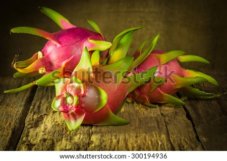 Dragon fruits on wood still life art photography