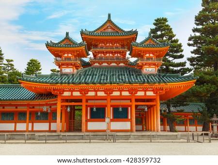 Dragon Hall at Heian-jingu Shrine in Kyoto, Japan   - stock photo