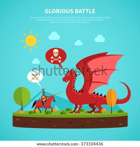 Dragon knight legend illustration flat - stock photo