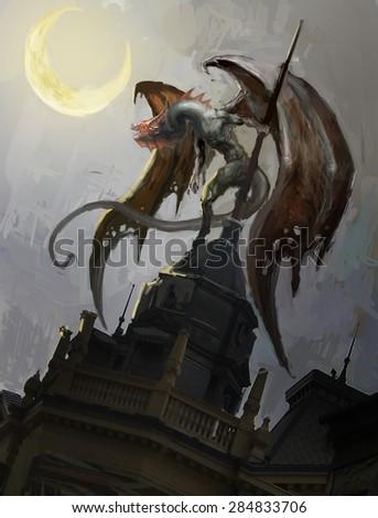 dragon on roof tops on moonlight  - stock photo