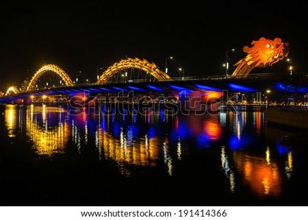 Dragon River Bridge ( Rong Bridge) in Da Nang, Vietnam - stock photo