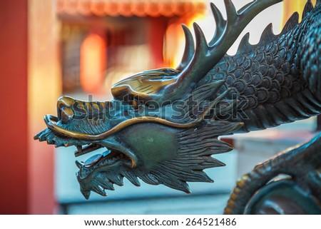 Dragon Sculpture at Shitennoji Temple in Osaka, Japan   - stock photo