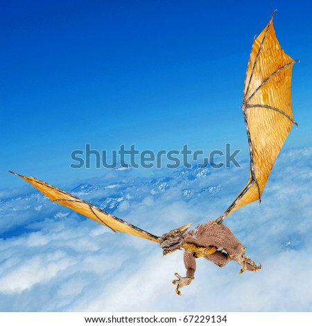dragon snatching on the sky - stock photo