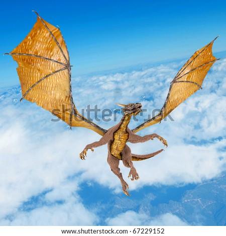 dragon soaring on the sky - stock photo