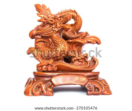 Dragon statue isolated on white background, Chinese style dragon statue - stock photo
