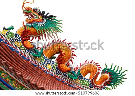 Dragon statue roof isolated on white background