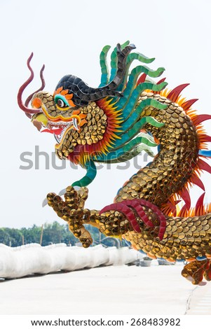 Dragon statues and religious beliefs  background. - stock photo