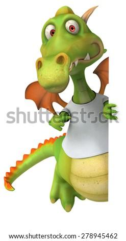 Dragon with a white tshirt - stock photo