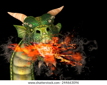 dragon with fire - stock photo